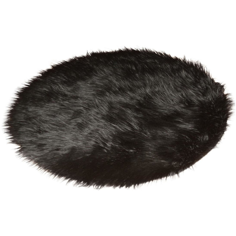Round Black Faux Fur Rug