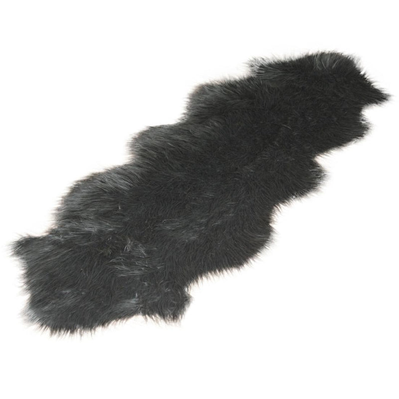 Gray Double Faux Fur Rug