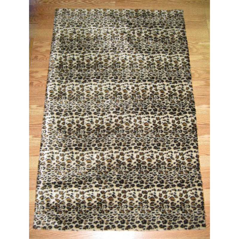 Cheetah Print Faux Fur Rug