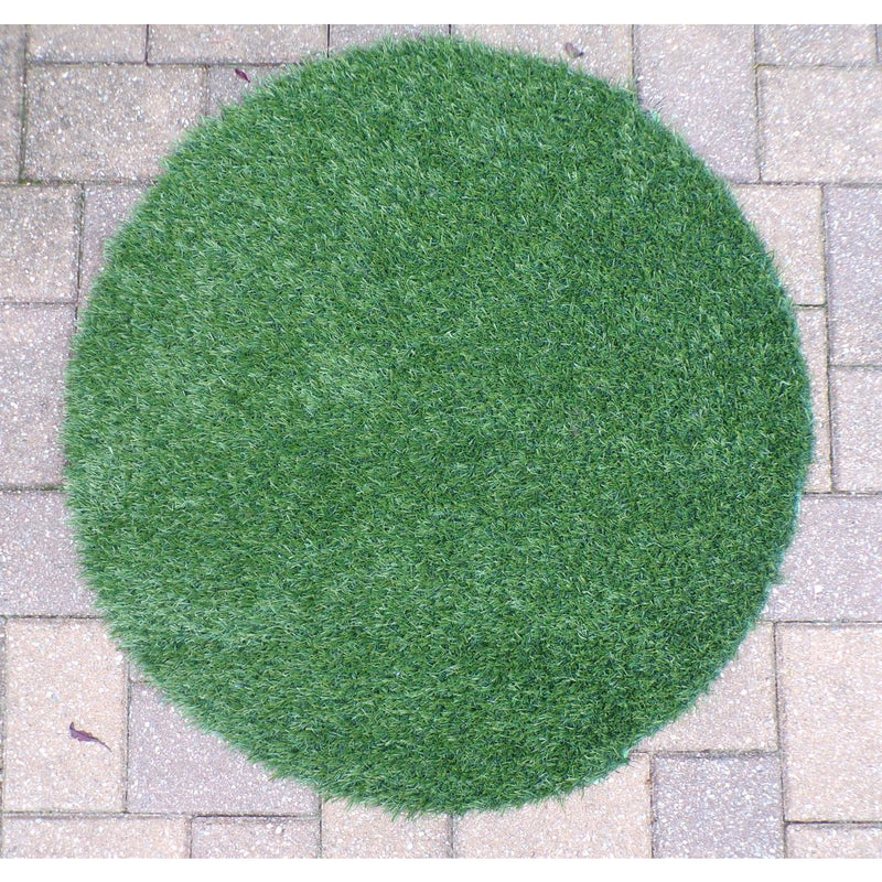 Round Indoor/Outdoor Green Turf Rug