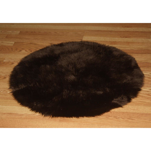 Round Chocolate Faux Fur Rug