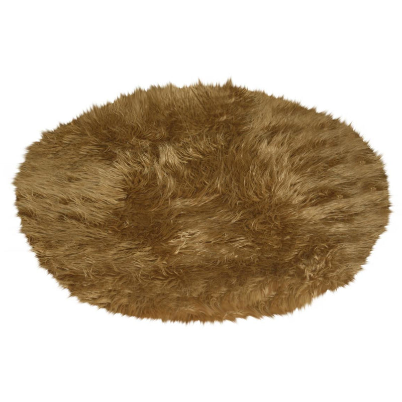 Round Tan Faux Fur Rug