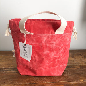 Waxed Canvas Project Bag - Coral