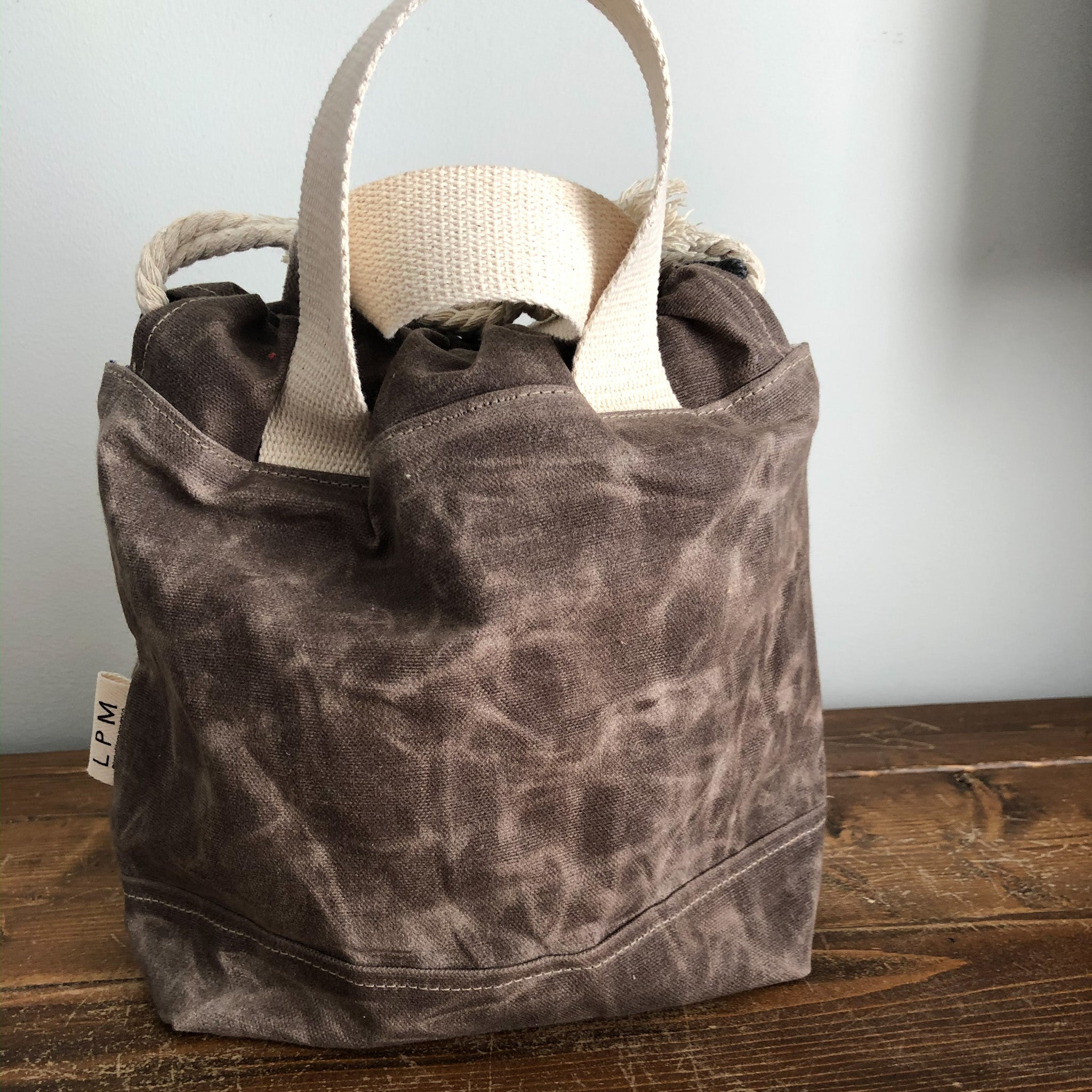 Waxed Canvas Project Bag - Taupe