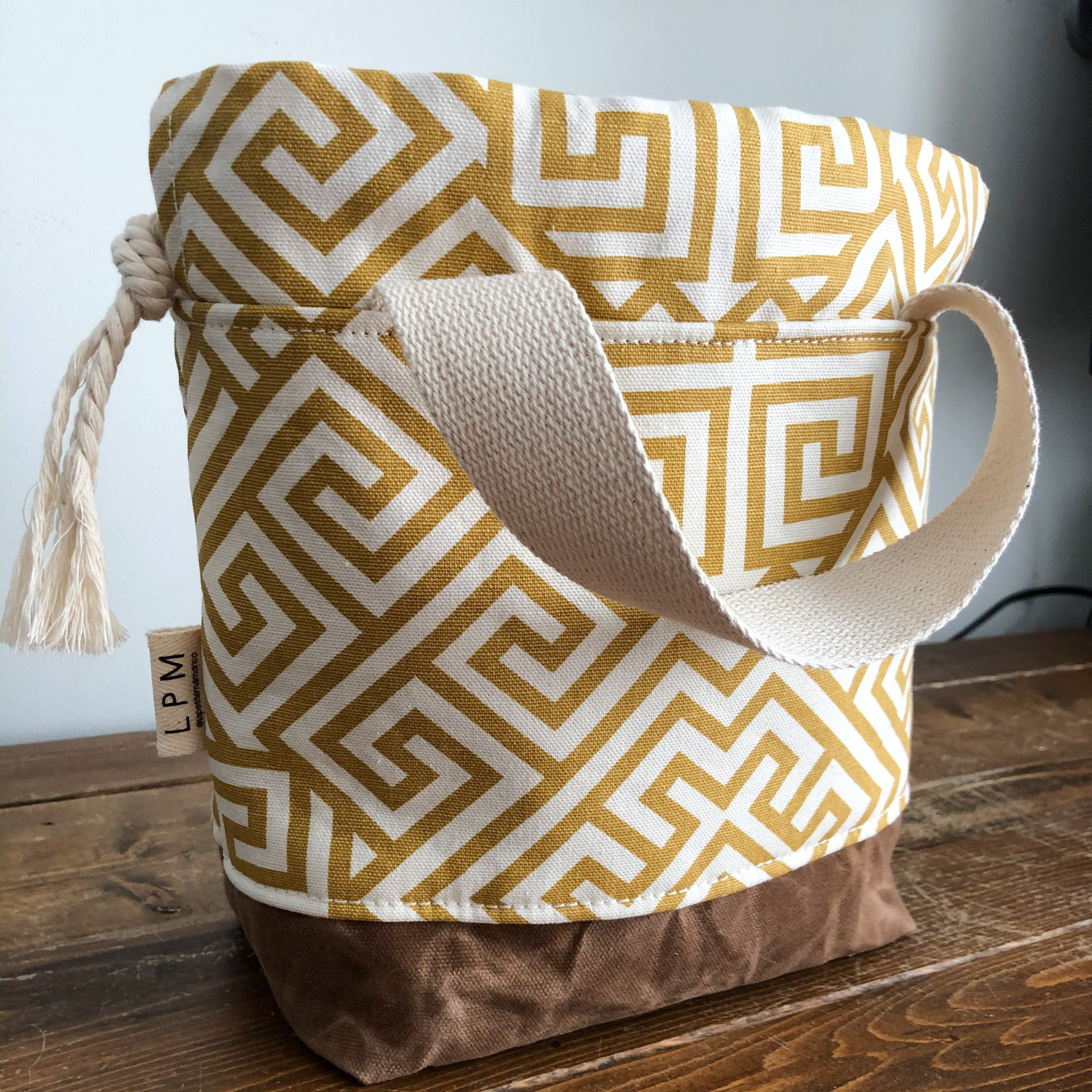 Bespoke Project Bag - Gold & Cream Geometric