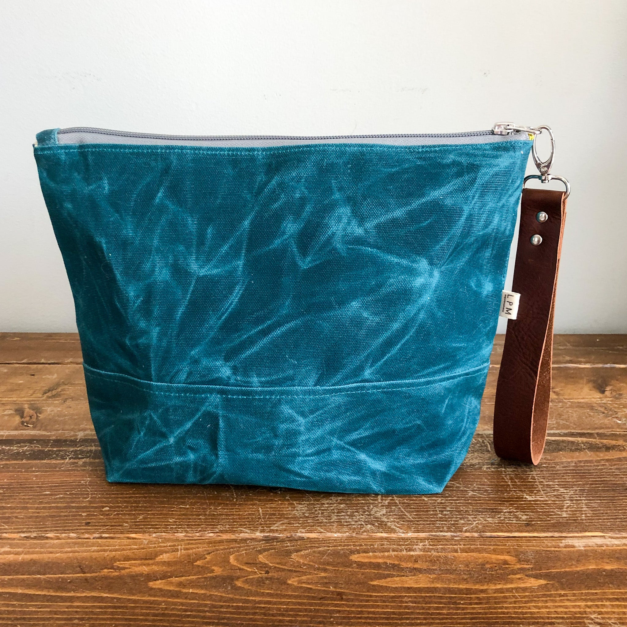 Essential Zipper Pouch - Waxed Canvas Dark Teal