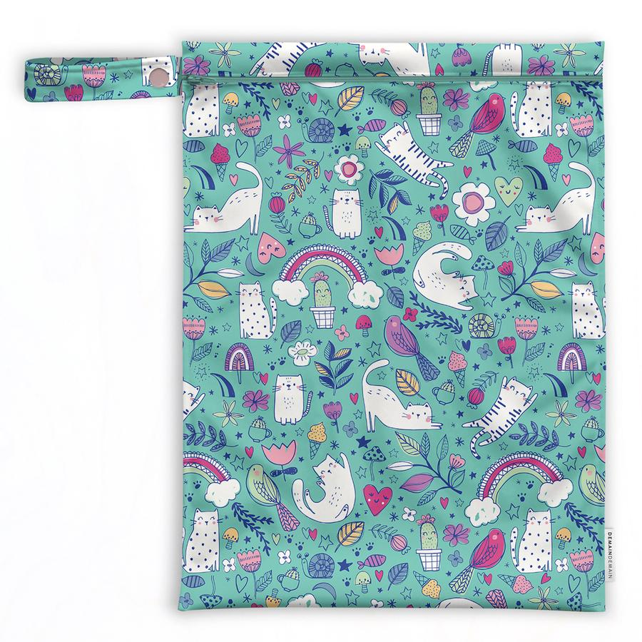 Large reusable & waterproof bags, wetbag - Cute Cats