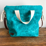 Waxed Canvas Capri Tote Bag - Turquoise