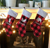 Load image into Gallery viewer, Personalized Buffalo Plaid Christmas Stocking 20""