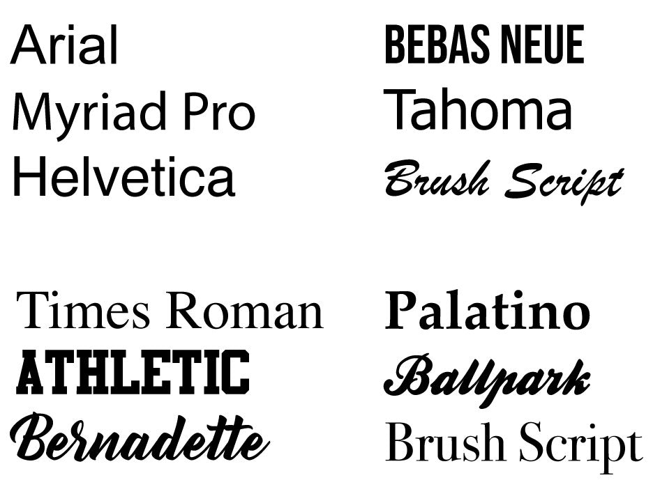 Standard Embroidery Fonts