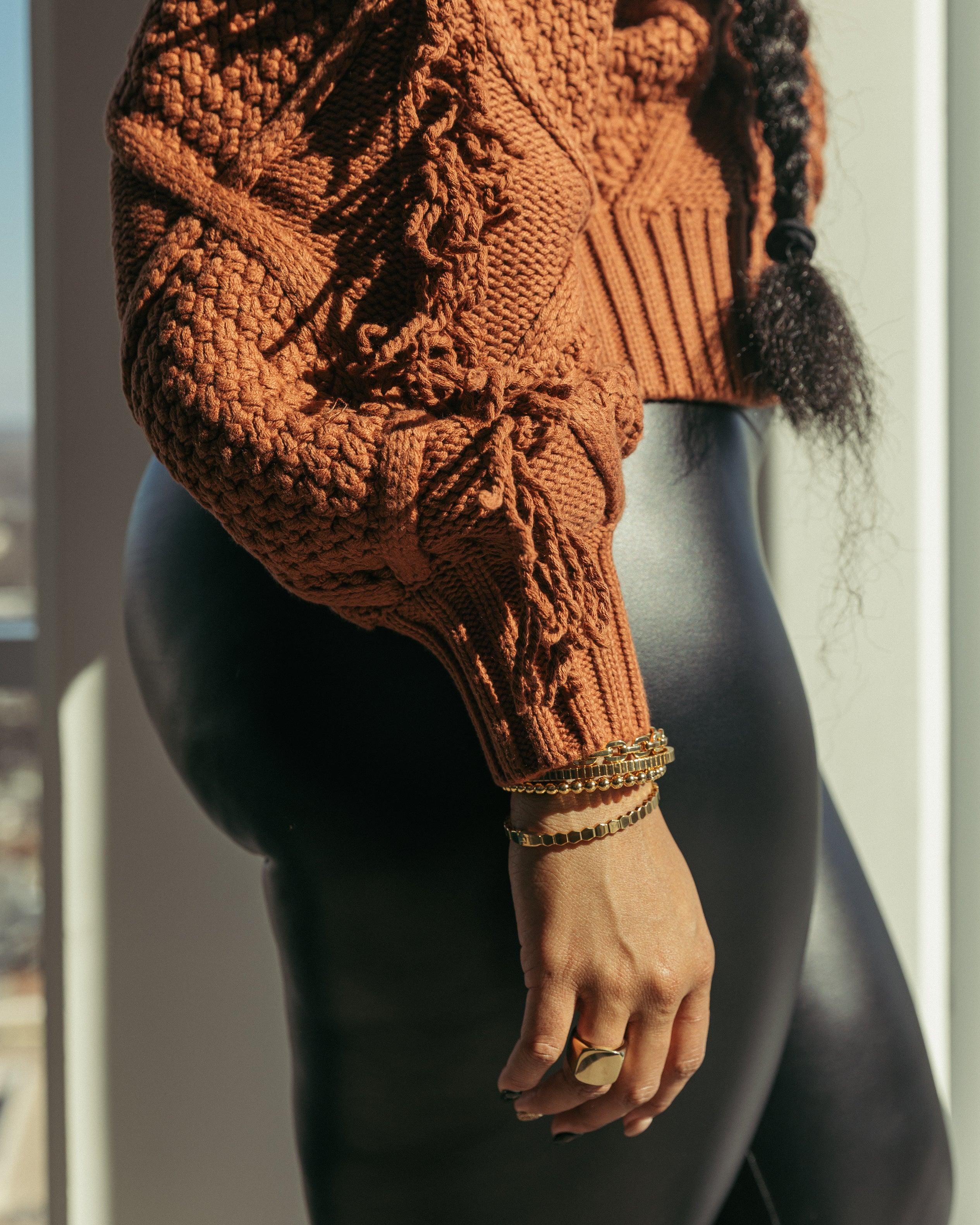 Chunky Fringe Sweater in Amber Rust
