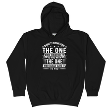 Load image into Gallery viewer, Don't Confuse The One Who Handed It To You With The One Who Really Gave It To You Unisex Youth Hoodie