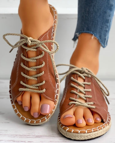 Eyelet Lace-up Woven Flax Flat Sandals