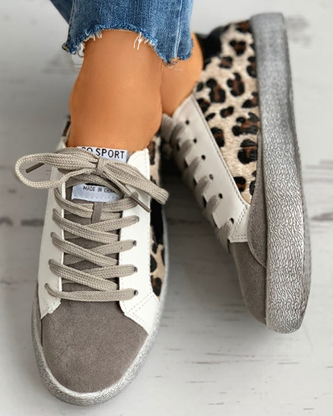 Cheetah Pattern Lace-up Casual Sneakers
