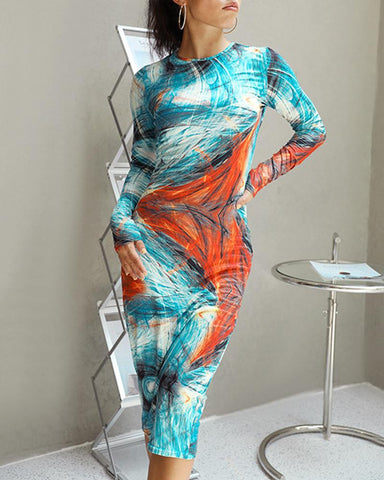 Printing Long Sleeve Long Dress