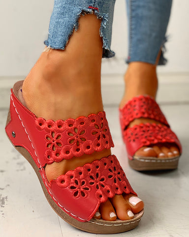 Open Toe Hollow Out Wedge Sandals