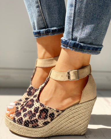 Suede Hollow Out Espadrille Wedge Sandals