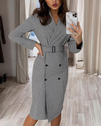 Houndstooth Long Sleeve Fitting Double-breasted Dress With Belt