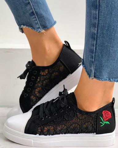 Sheer Mesh Floral Pattern Lace-up Sneaker