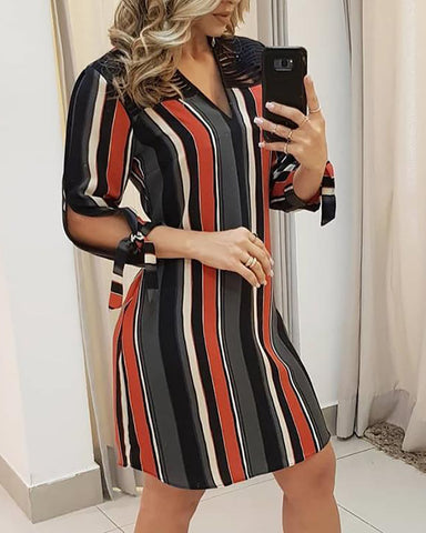 Striped Tassels Insert Tie Sleeve Shirt Dress