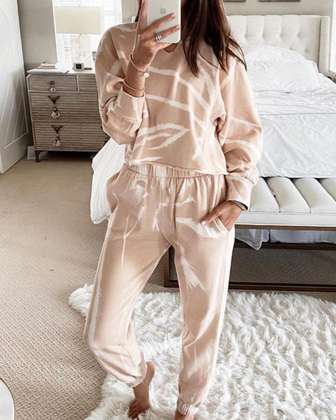 Colorblock Long Sleeve Cropped Sweatshirts Suit Sets
