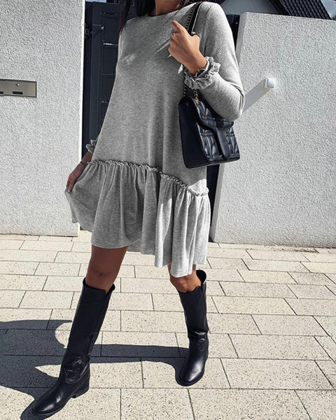 Ruched Round Neck Long Sleeve Ruffles Casual Dress