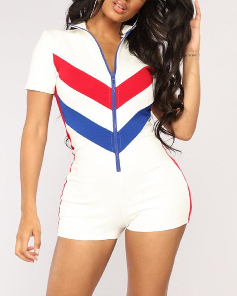 V Striped Zip Front Romper
