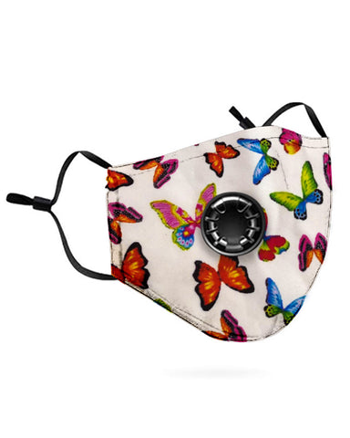 Butterfly Print Breathing Washable Valve Face M .a. s. k (2 filters as gift)
