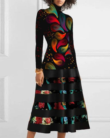 Multicolor Long Sleeve A-line Midi Dress
