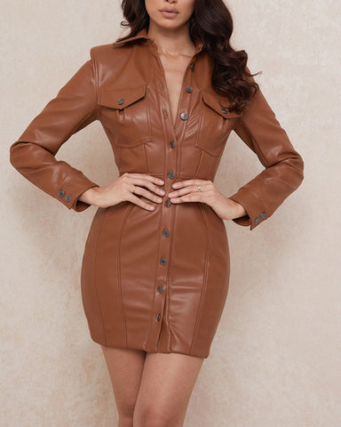 Solid Long Sleeve Skinny Button-down Backless PU Mini Dress
