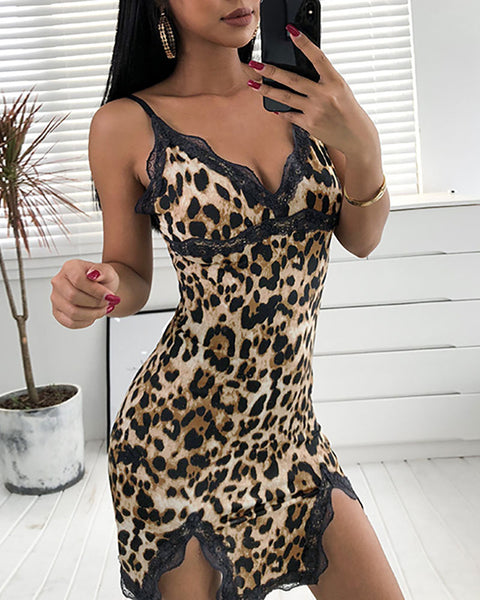 Cheetah Print Slit Spaghetti Strap Lace Dress