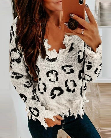 Cheetah Print V-neck Ripped Sweater