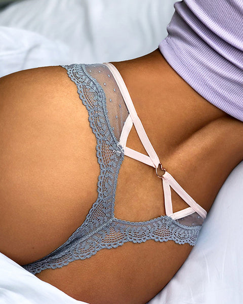 Sexy Mesh Lace Cut-out Thong Panties