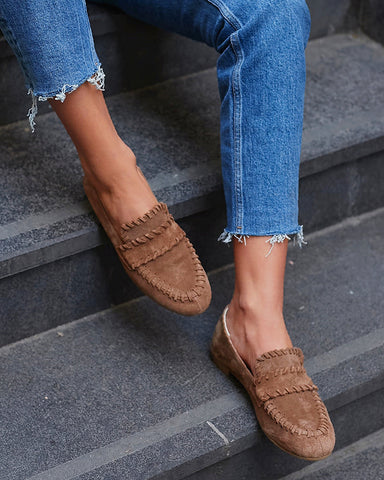 Solid Round-toe Loafers Flat Sandals