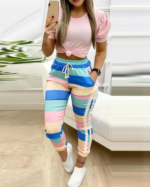 Stitching Color Block Short Sleeve Suit Sets