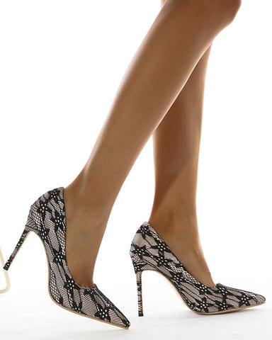 Lace Pointed-toe High Heel Sandals