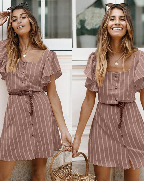 Square Neck Lace-up Casual Striped Dress