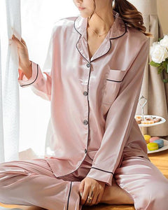 Satin Contrast Binding Pajama Set