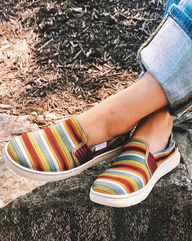 Colorblock Shallow Canvas Flat Slip-on