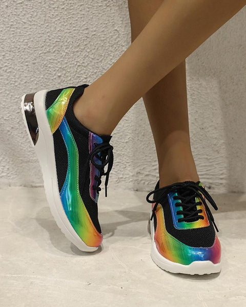 Round-toe Color Block Lace-up Sneakers
