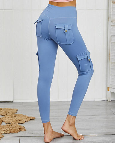 Solid Color High Waist Sport Pants With Pocket