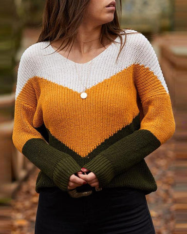 Colorblock V-neck Knit Weave Sweater