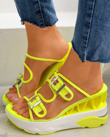 Clear Perspex Colorblock Buckled Wedge Platform Heel