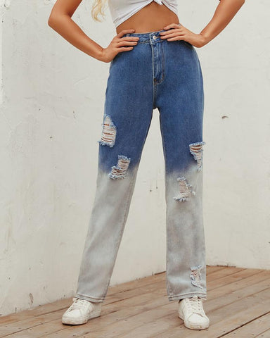 Colorblock Loose Straight Denim Ripped Pants