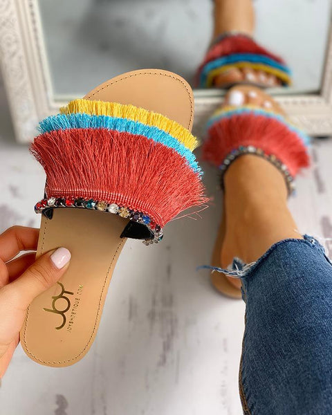 Colorful Tassel Design Flat Sandals
