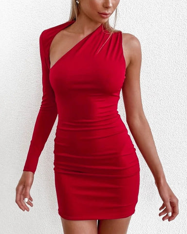Solid Color Cut-out One Shoulder Long Sleeve Mini Dress
