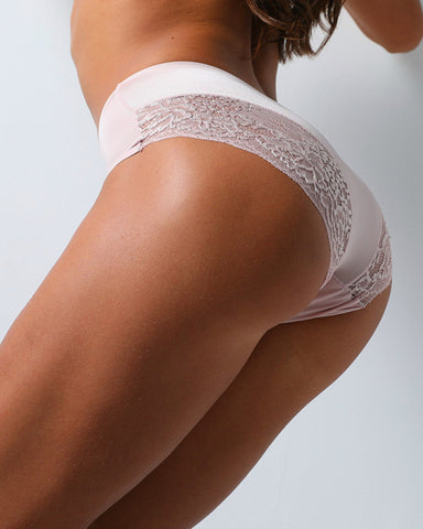 Solid Color Splicing Floral Lace Ice Silk Seamless Panties