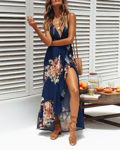 Floral Print Sleeveless Backless Slit Long Dress