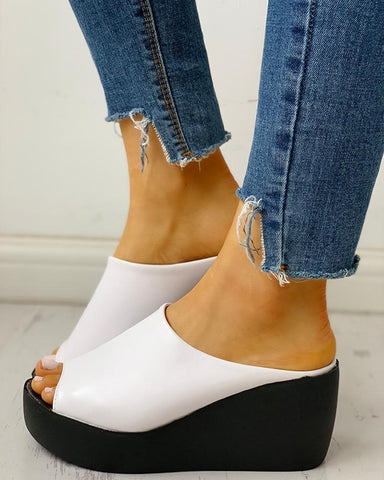 Peep Toe Muffin Wedge Sandals
