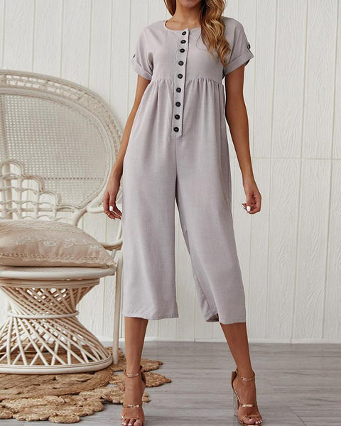 2019 summer cotton and linen solid color jumpsuit sexy